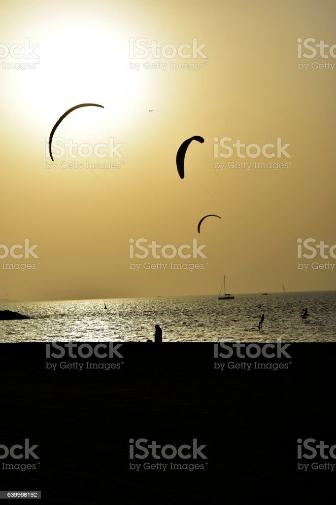 Dubai Kite beach at sunset Jumeirah, Dubai, United Arab Emirates stock photo