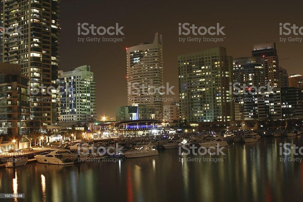 Dubai Lights - Night Shot City Coastline royalty-free stock photo