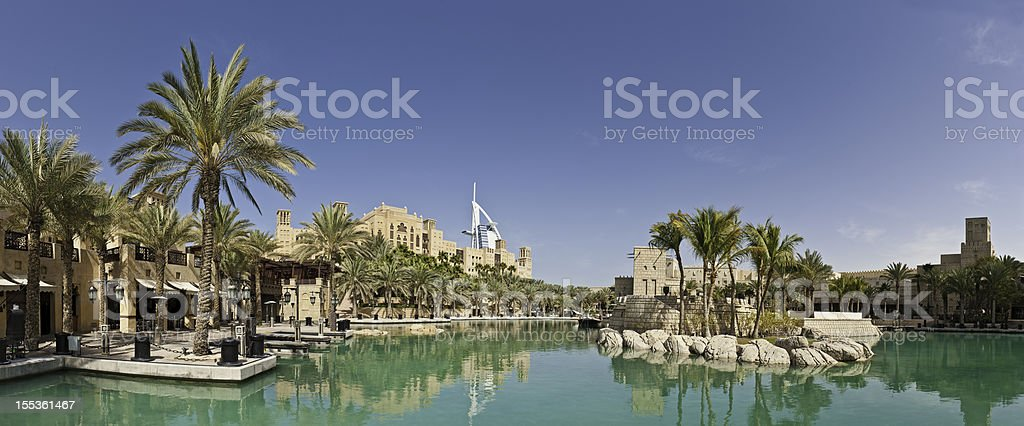 Dubai luxury lakeside restaurants hotels Burj Al Arab UAE stock photo