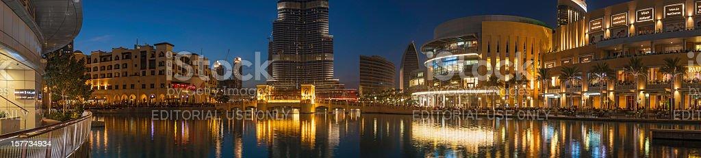 Dubai Mall lakeside restaurants beneath Burj Khalifa UAE royalty-free stock photo