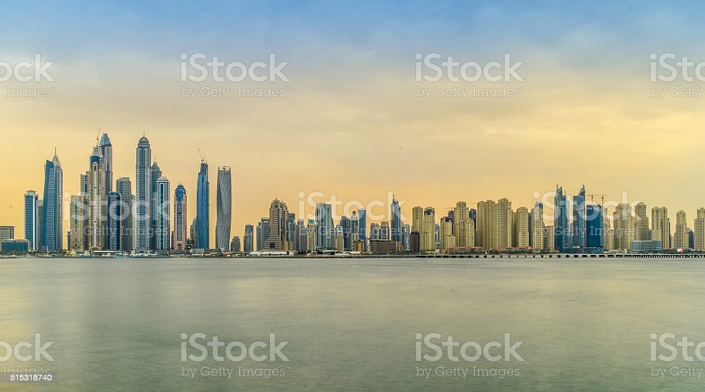 Dubai Marina and Jumeirah Beach Residence stock photo