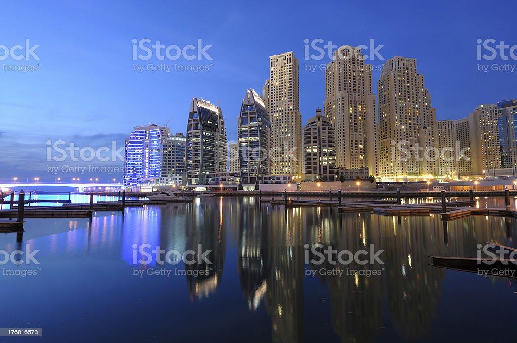 Dubai Marina at dusk royalty-free stock photo