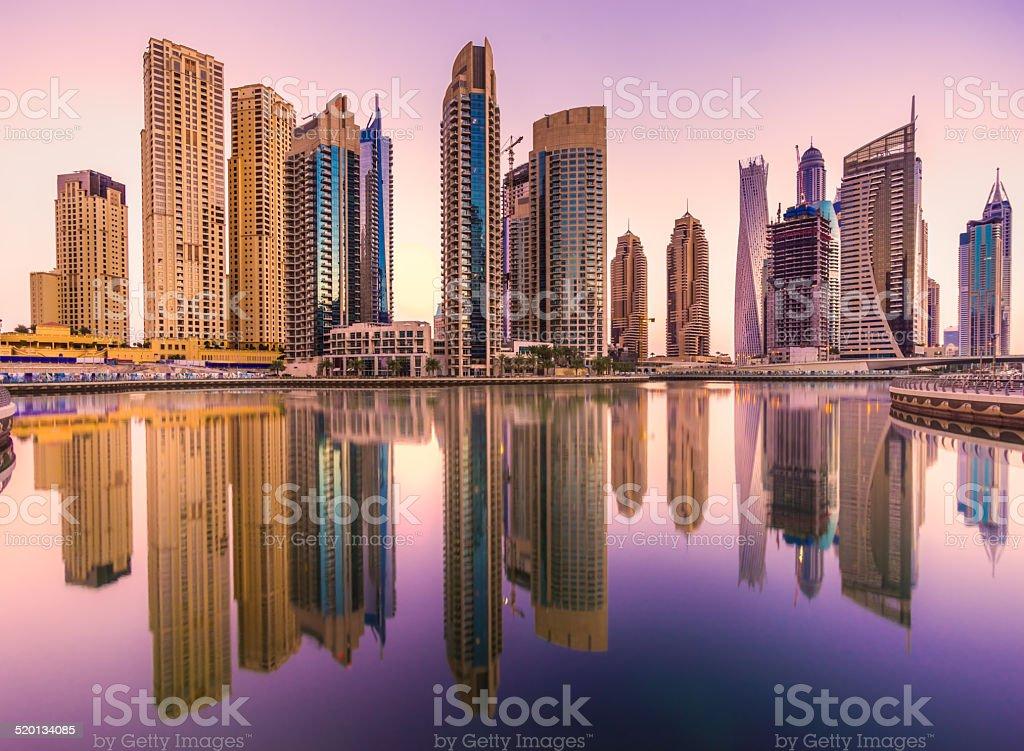 Dubai Marina at sunset, UAE. stock photo