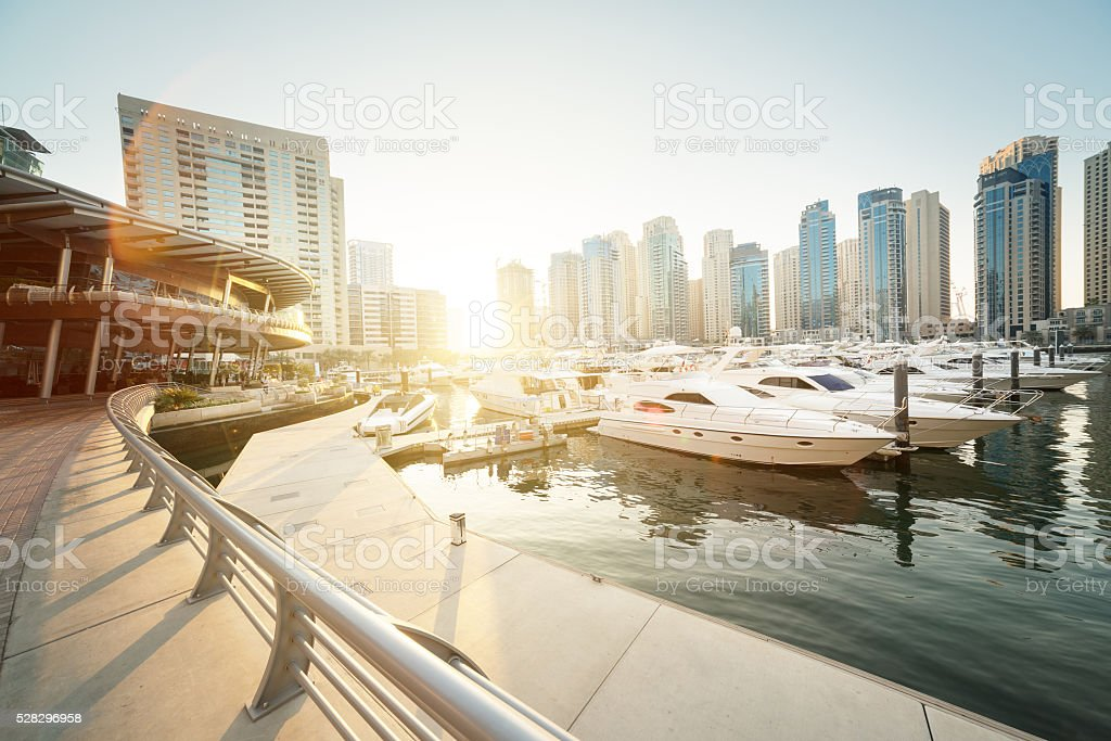Dubai Marina at sunset, United Arab Emirates stock photo