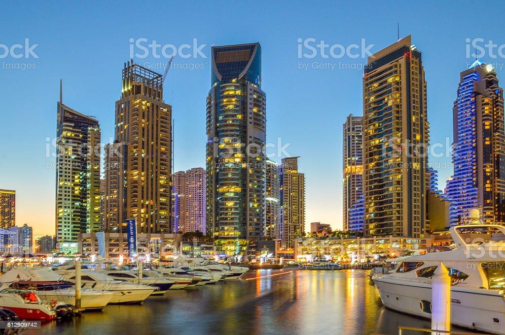 Dubai Marina by Night stock photo