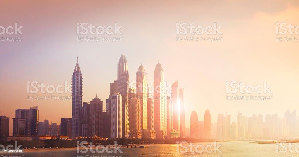 Dubai Marina cityscape in sunset light stock photo
