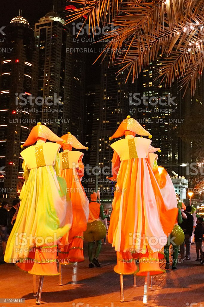 Dubai Marina Colourful Winter Festival Parade stock photo
