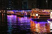 Dubai Marina Dhow Cruise Boats at Night