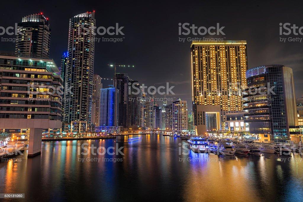 Dubai Marina during night stock photo