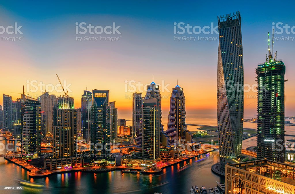 Dubai marina during twilight stock photo