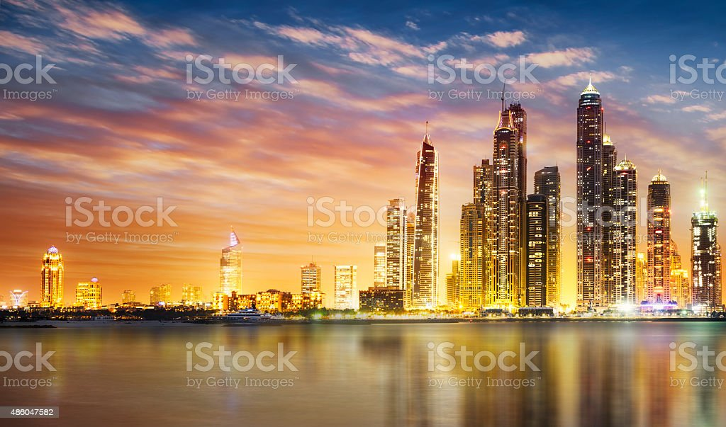 Dubai marina during twilight stock photo