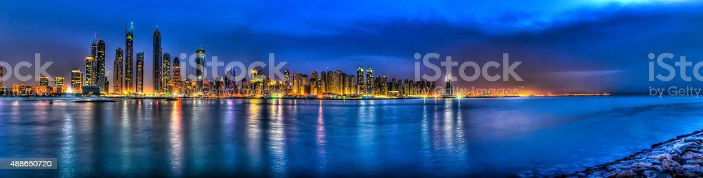 Dubai marina HDR skyline at night stock photo