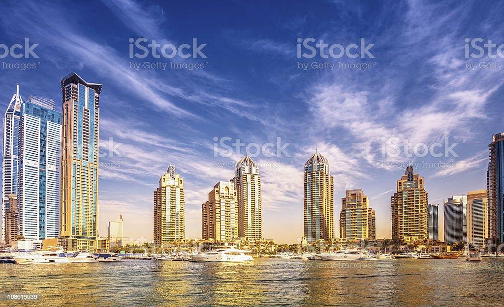 Dubai Marina in sunset light royalty-free stock photo