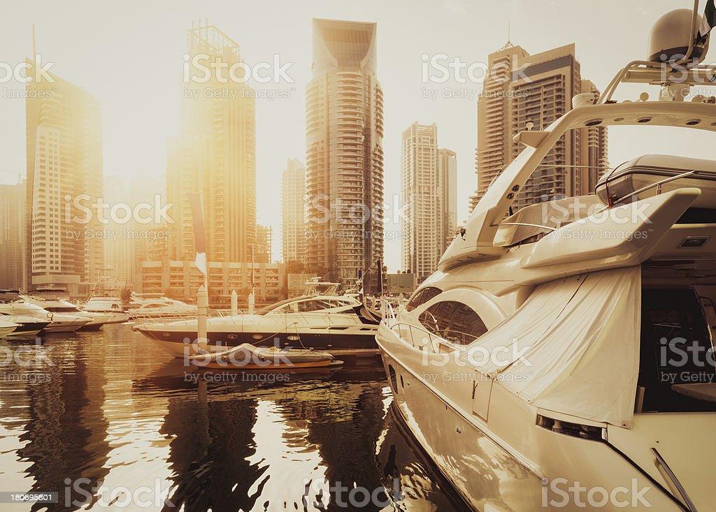 Dubai Marina in sunset light stock photo