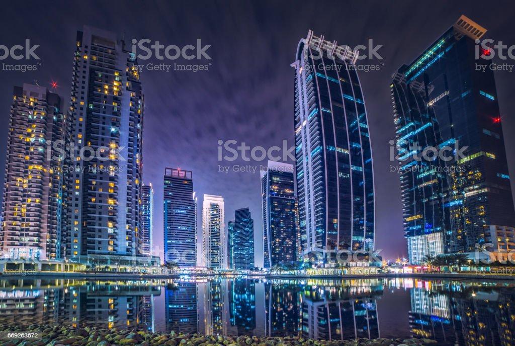Dubai Marina JLT hotels background stock photo