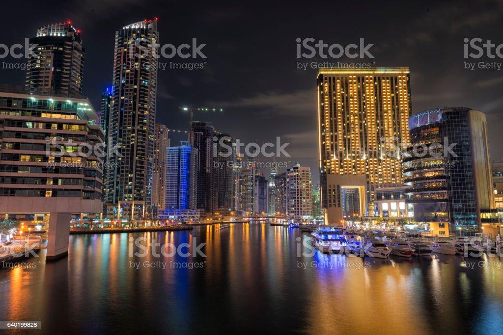 Dubai Marina night skyline stock photo