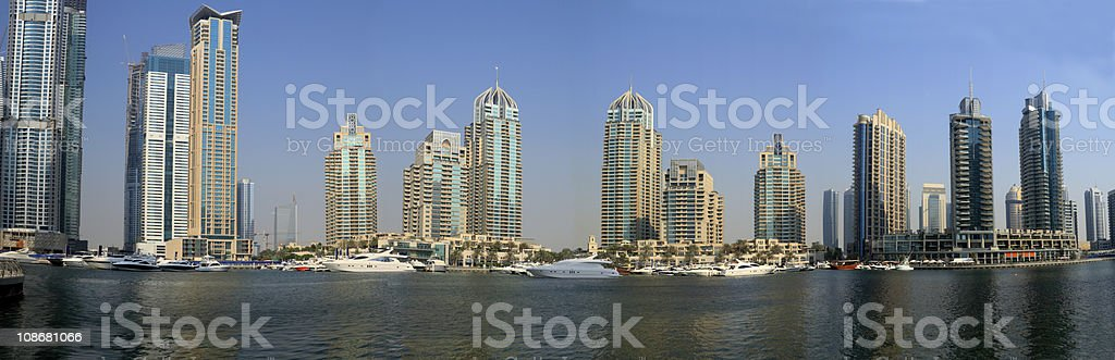 Dubai Marina Panoramic View, United Arab Emirates royalty-free stock photo