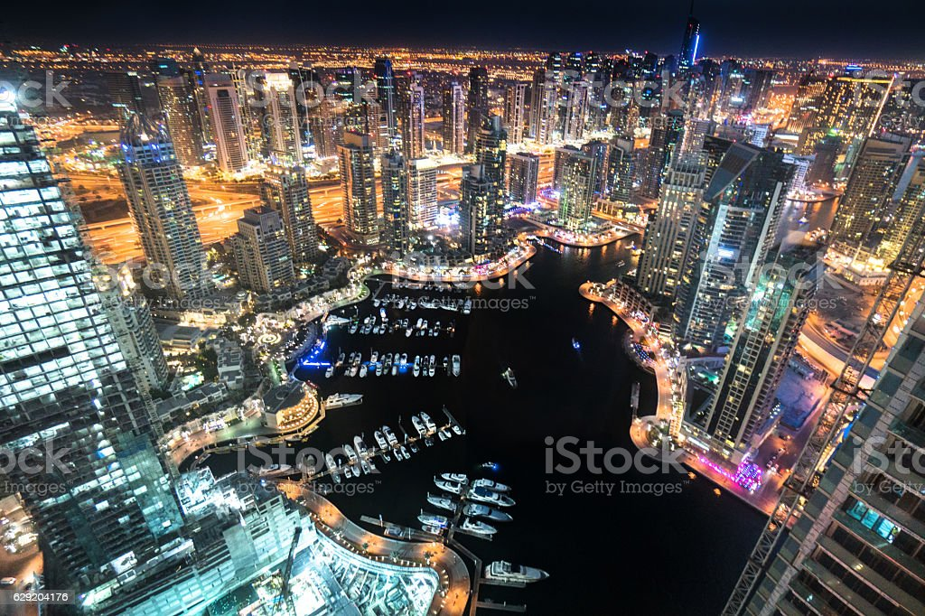 Dubai marina skyline aerial view stock photo