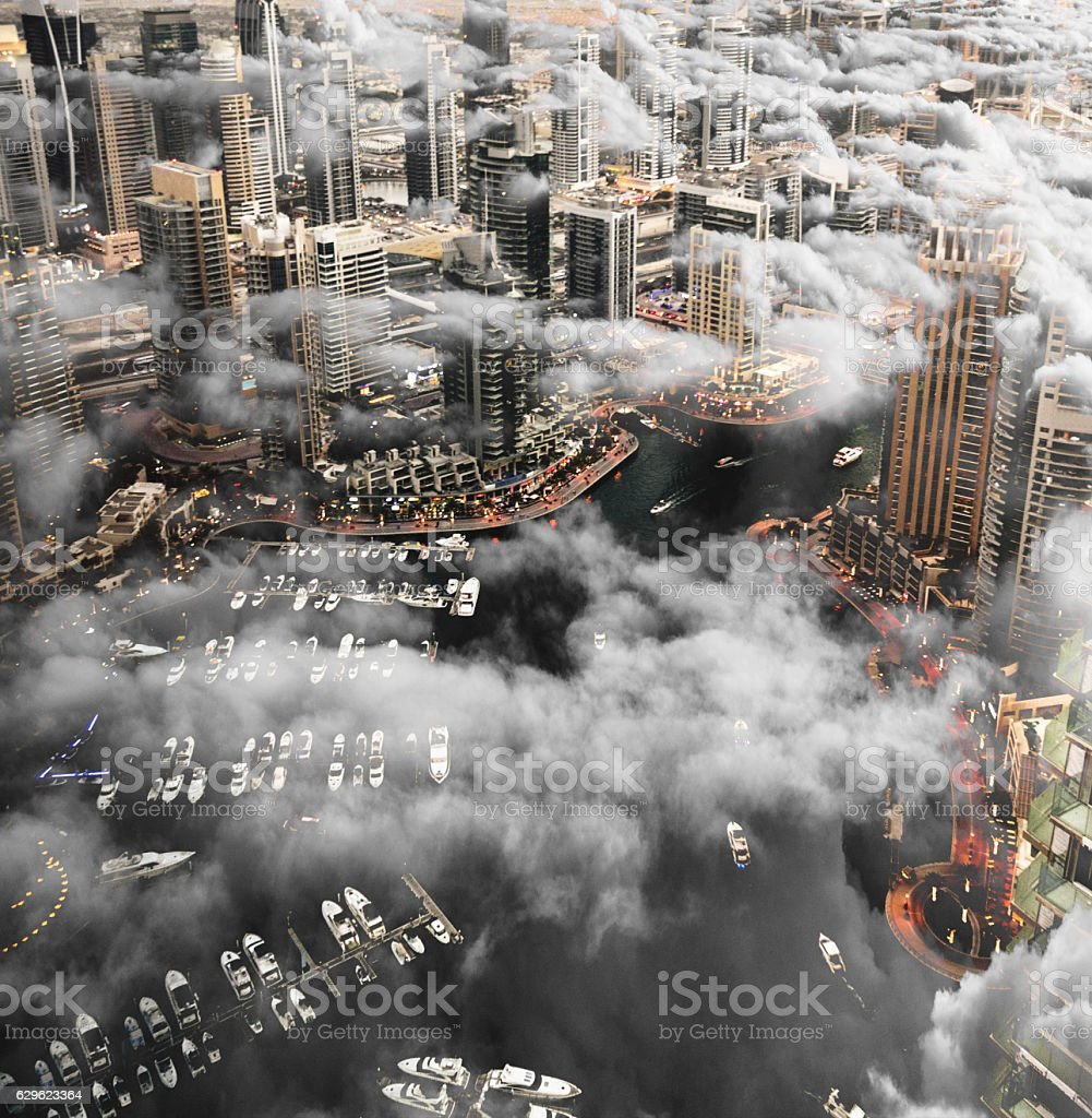 Dubai marina skyline aerial view stock photo