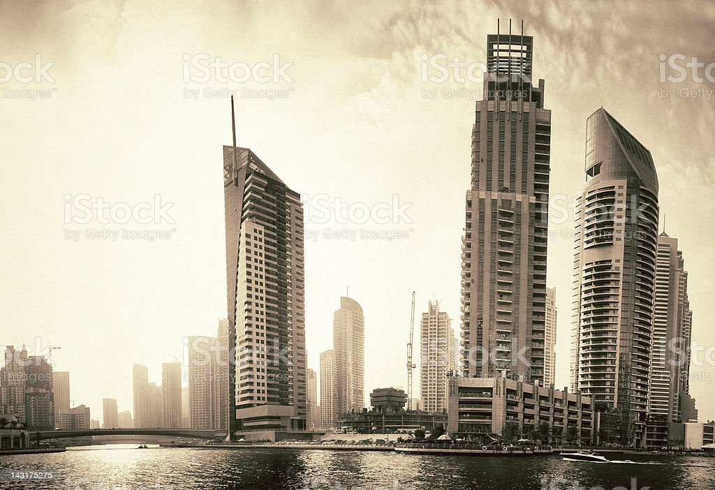 Dubai Marina Skyline and Skyscrapers royalty-free stock photo