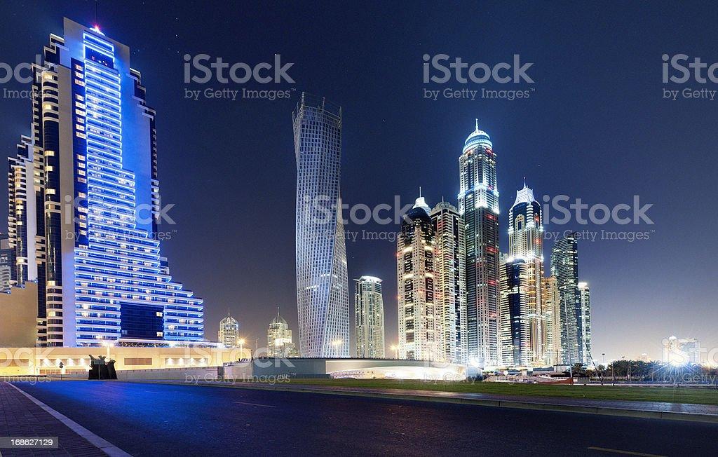 Dubai Marina skyline at a starry night royalty-free stock photo