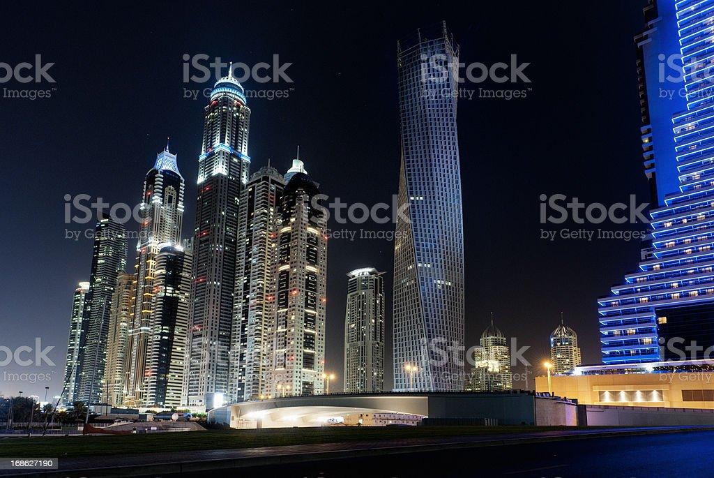 Dubai Marina skyline at night royalty-free stock photo