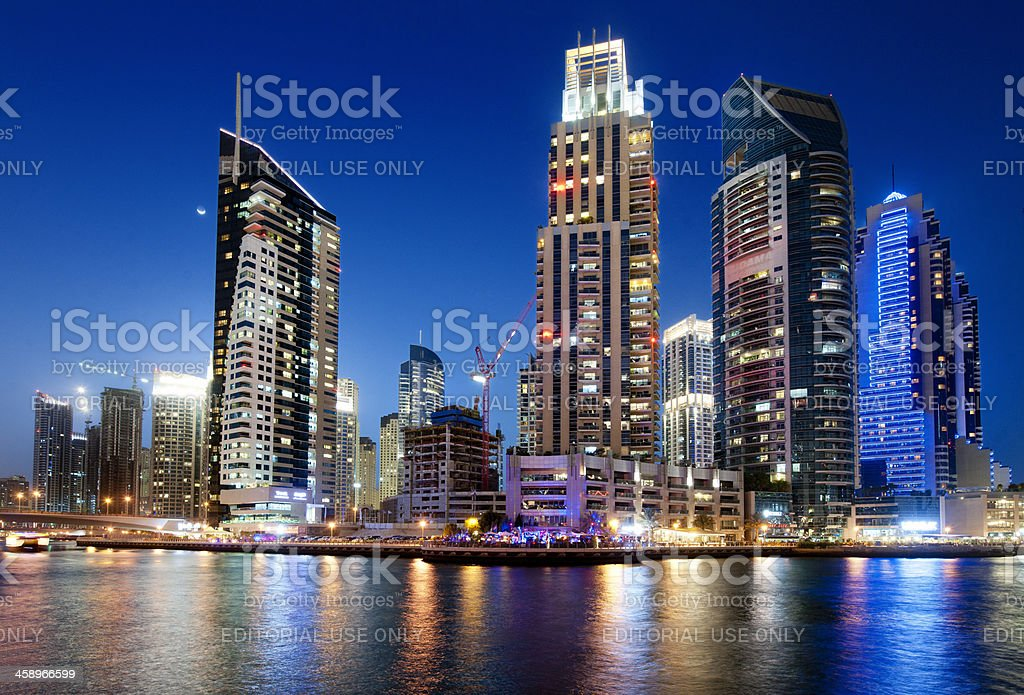 Dubai Marina skyline at night royalty-free stock photo