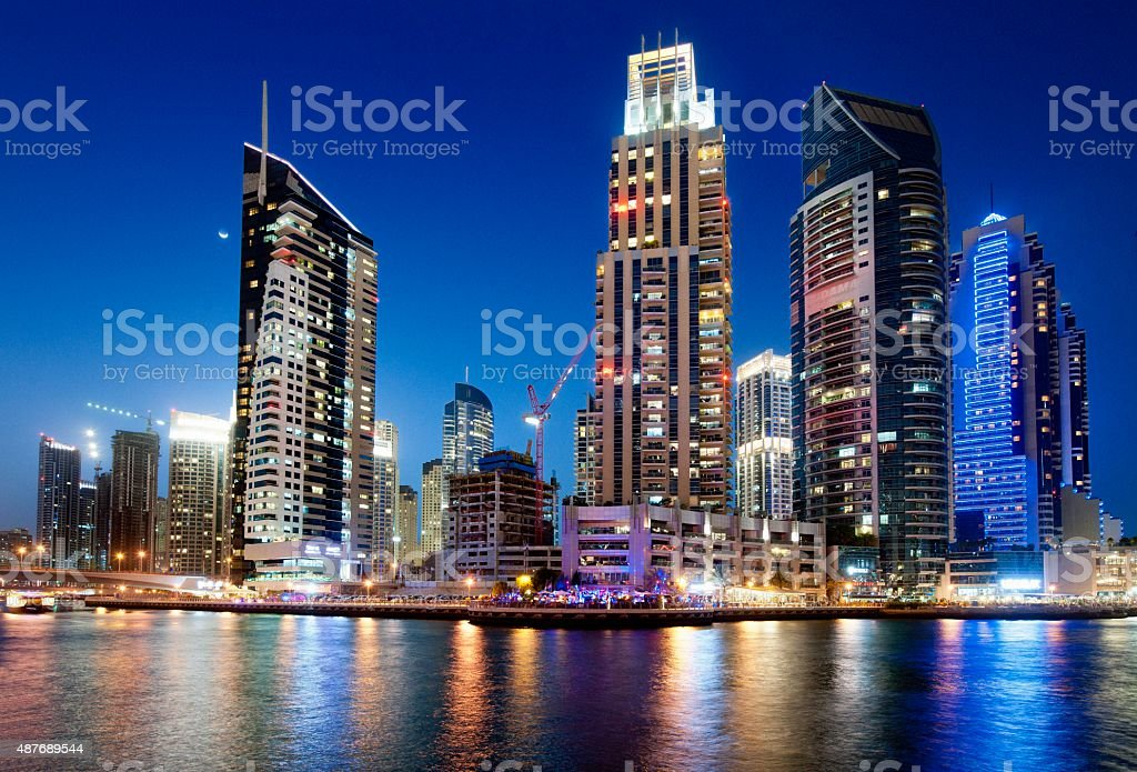 Dubai Marina skyline at night stock photo