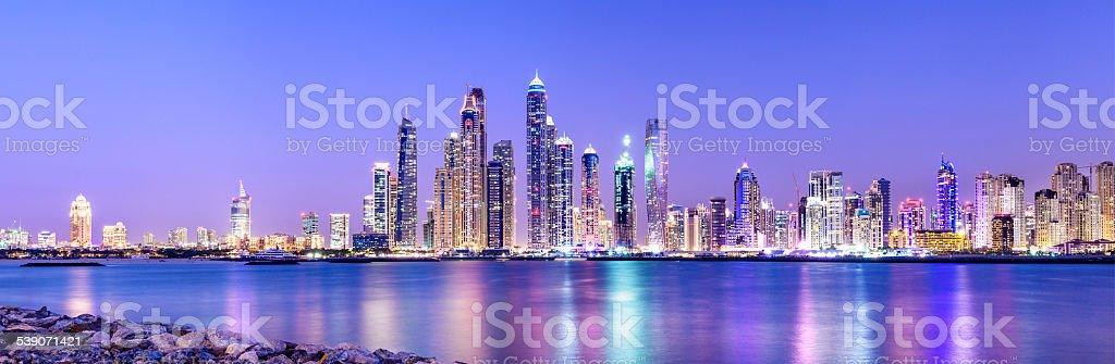 Dubai Marina Skyline at Twilight United Arab Emirates stock photo