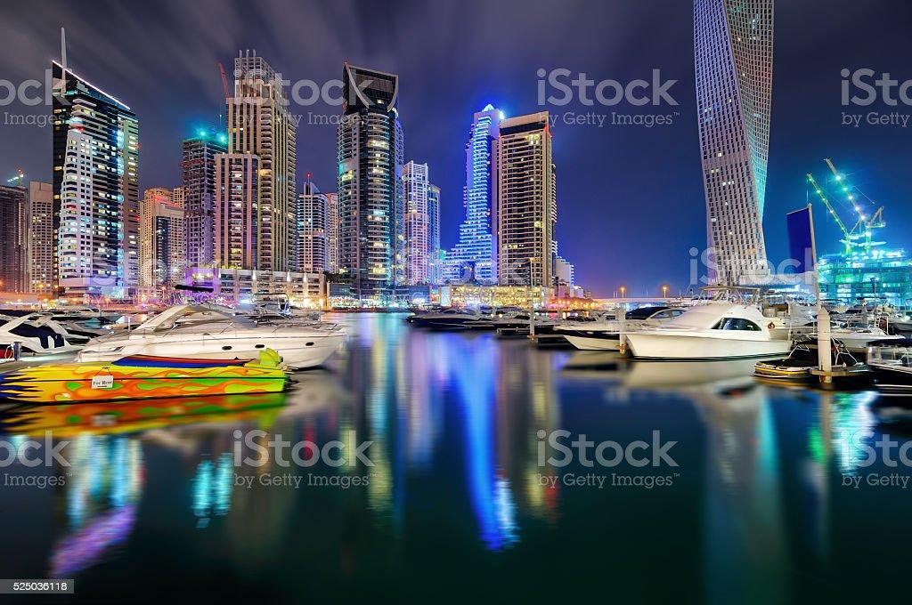 Dubai marina skyline, Dubai, United Arab Emirates stock photo