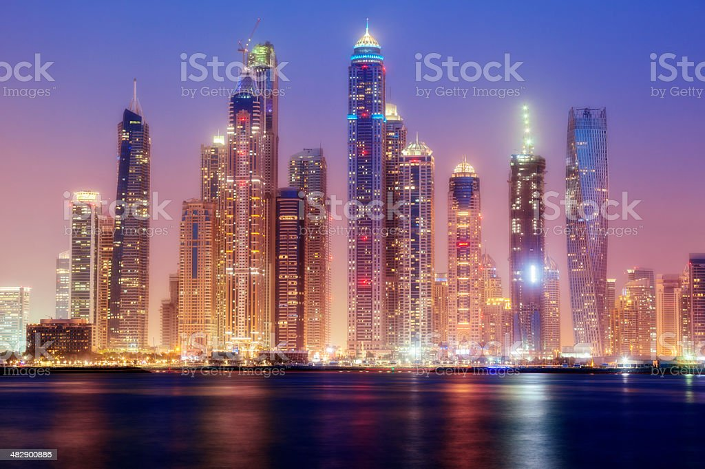 Dubai Marina Skyline Illuminated at Dusk stock photo