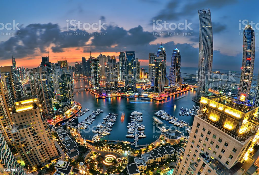 Dubai Marina skyline stock photo