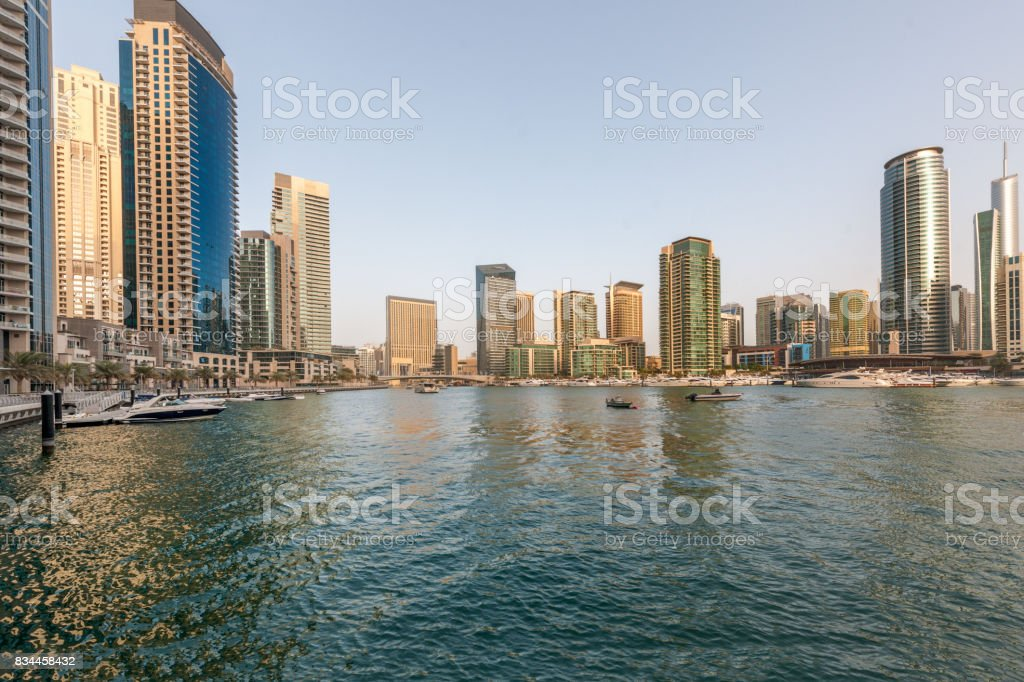 Dubai Marina Skyline  This image is GPS tagged stock photo