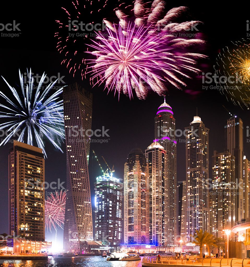 Dubai marina skyline with fireworks for the new year stock photo