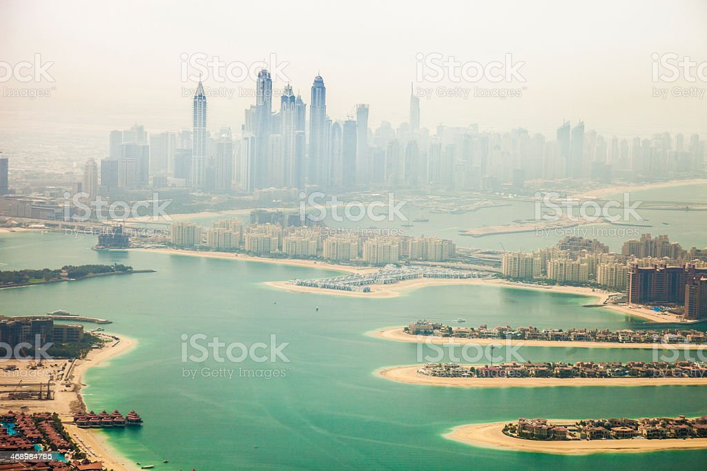 Dubai Marina skyscrapers and The Palm Island aerial view stock photo