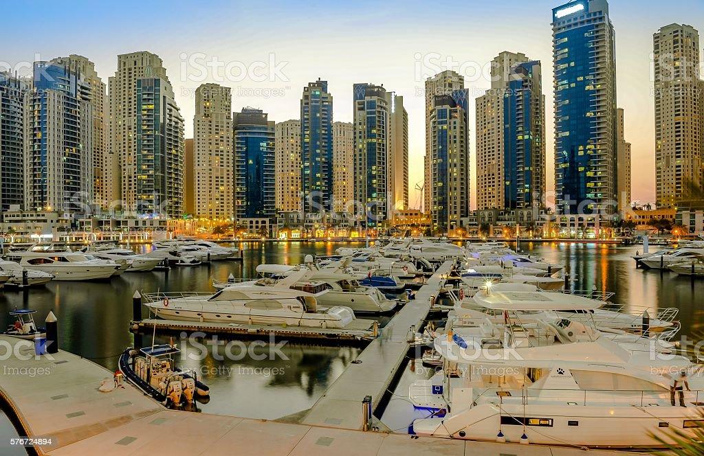 Dubai Marina Sunset- Dusk stock photo