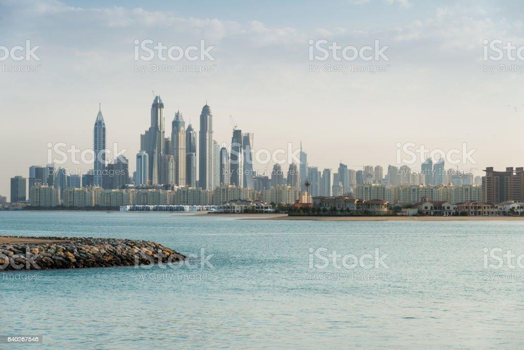 Dubai marina view from Palm island stock photo