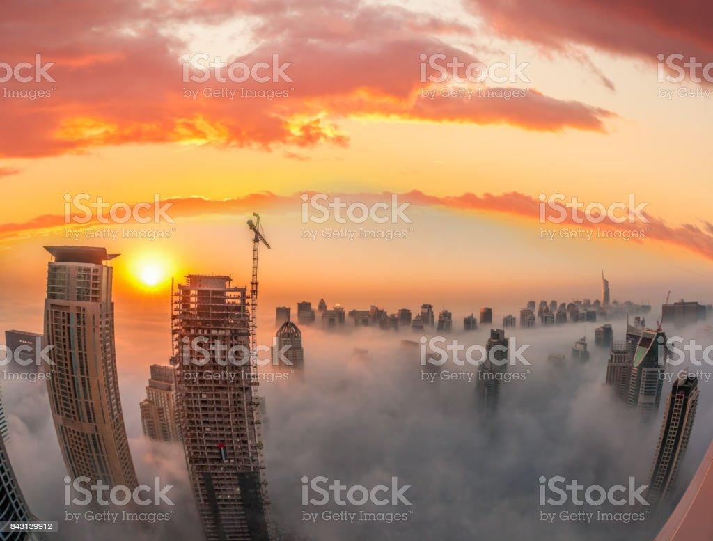 Dubai Marina with colorful sunset in Dubai, United Arab Emirates stock photo