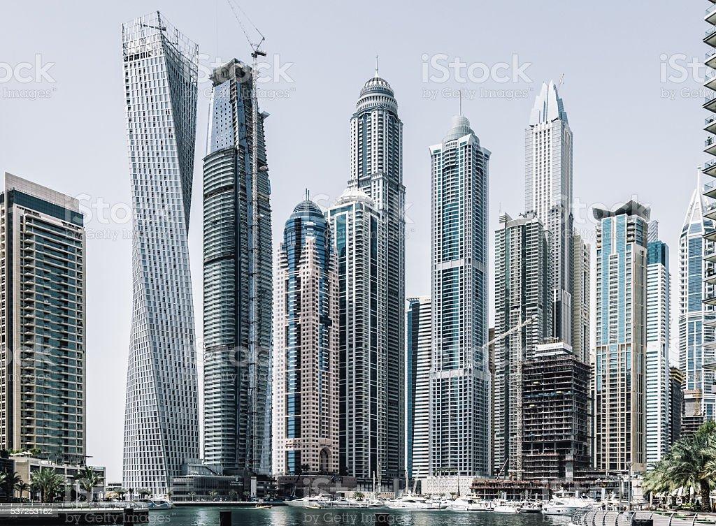 Dubai marina with modern skycrapers stock photo