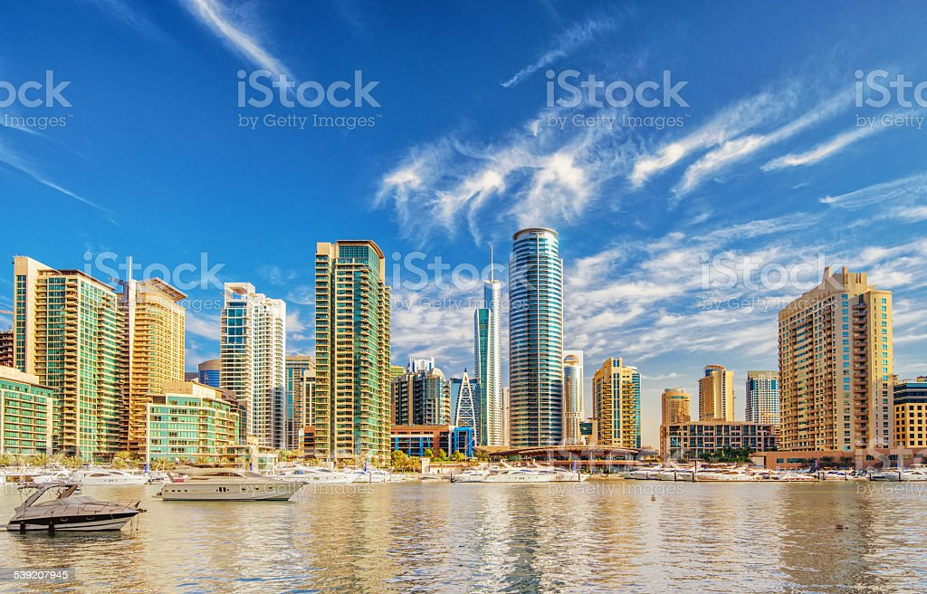 Dubai Marina Yacht Harbour stock photo