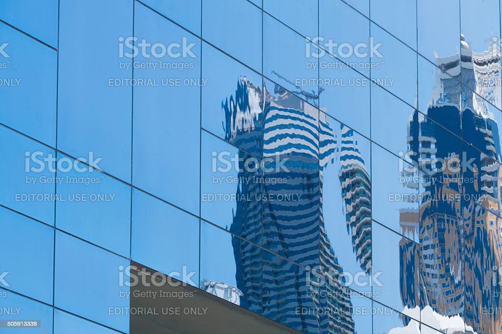 Dubai Marina-reflexion of skyscrapers. stock photo