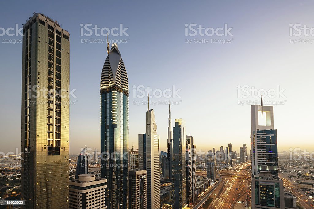 Dubai Megacity Downtown Skyscrapers stock photo