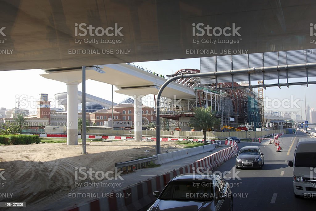 Dubai Metro Station under Construction stock photo