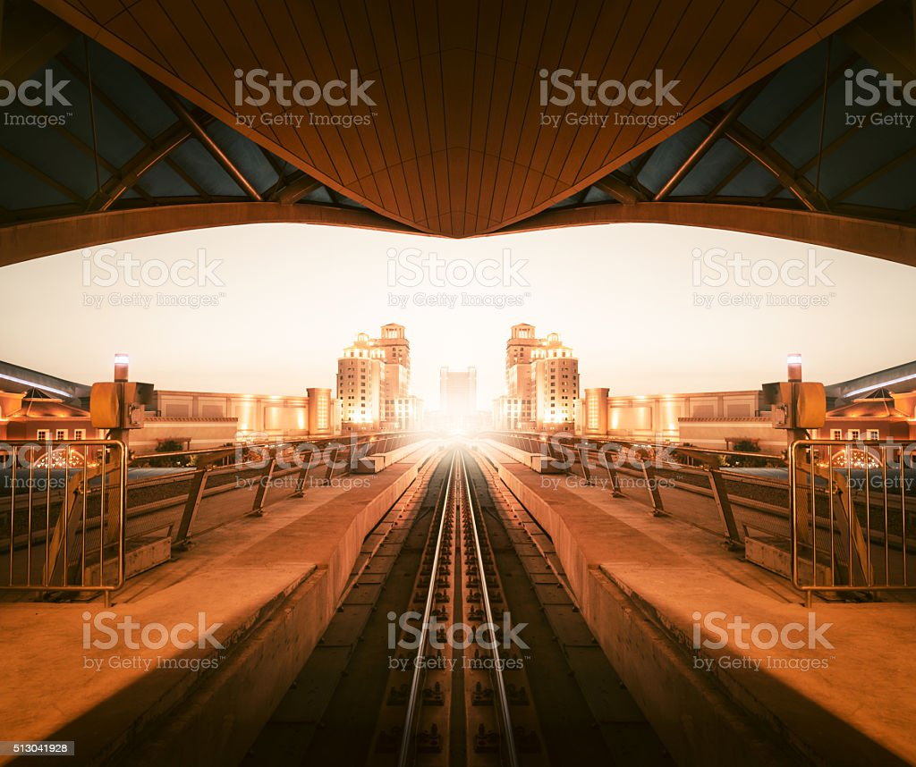 Dubai metro track stock photo