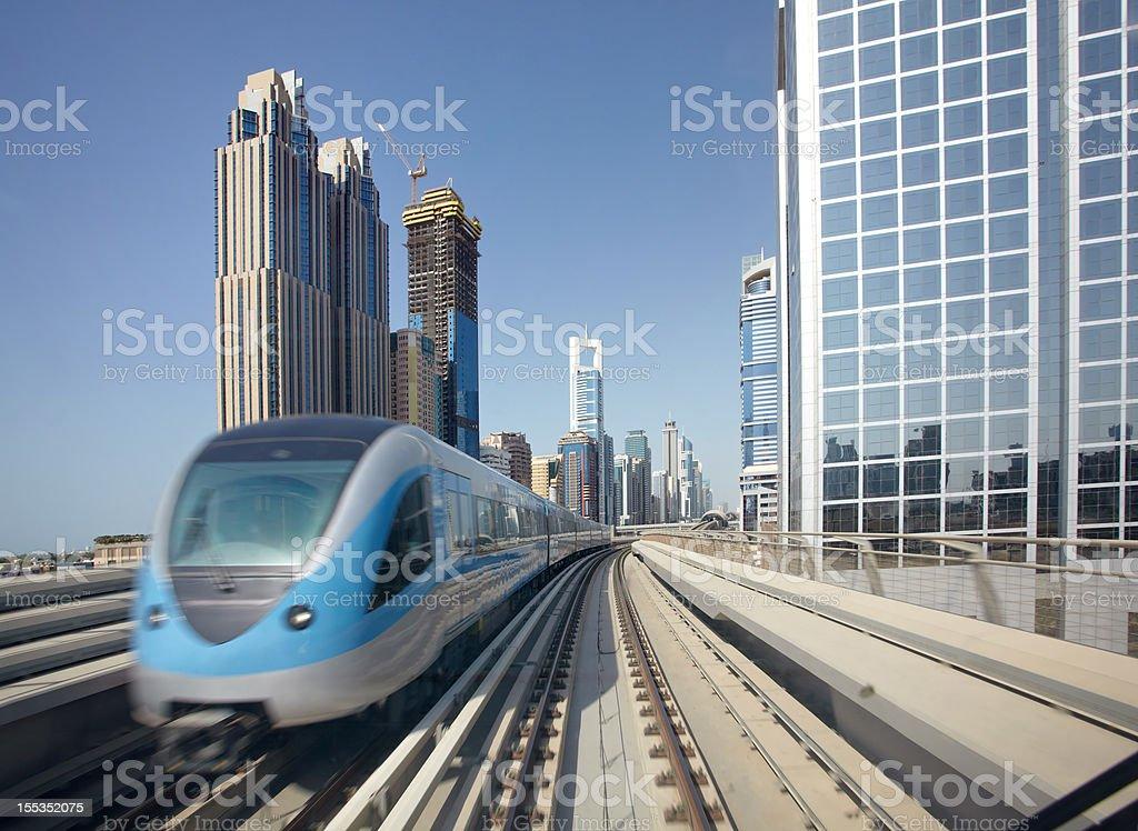 Dubai Metro with skyscrapers royalty-free stock photo