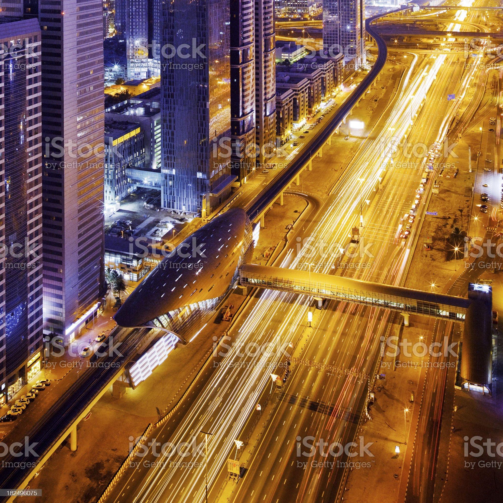 Dubai Night Traffic royalty-free stock photo