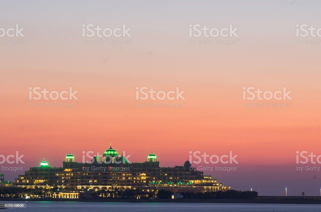 Dubai, nightview of plams building stock photo