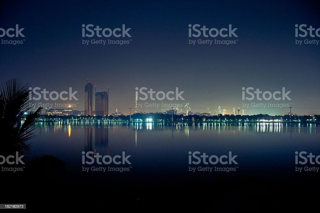 Dubai on a Grainy Night stock photo