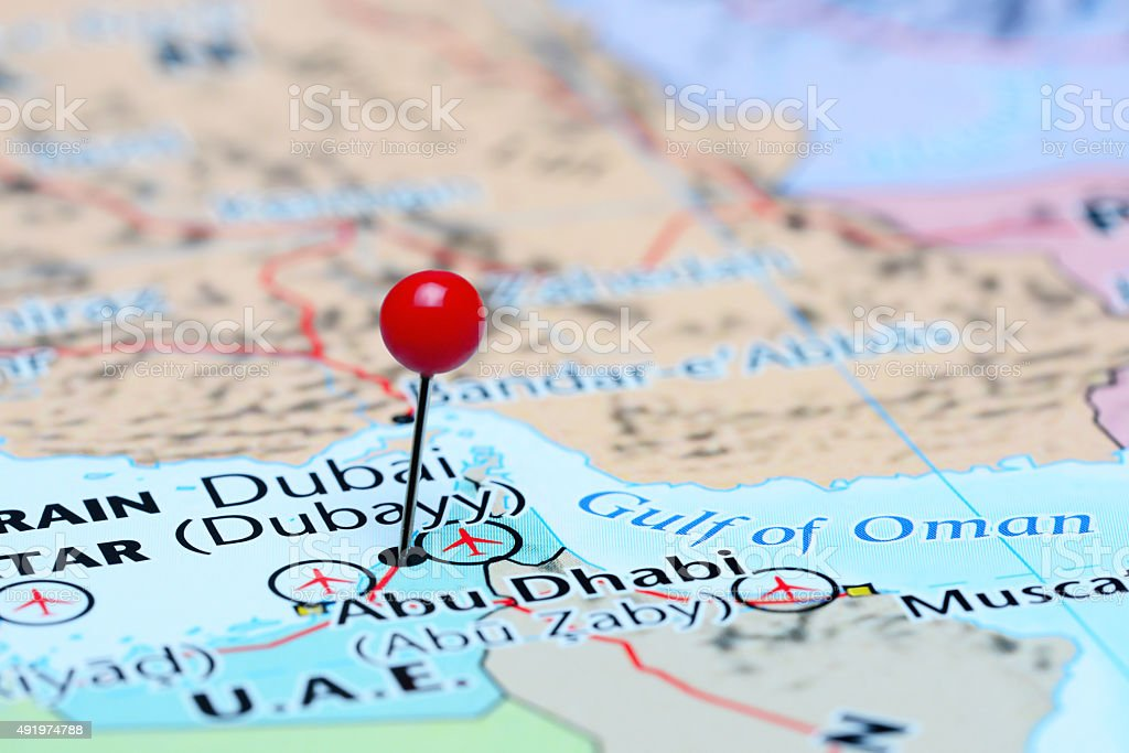Dubai pinned on a map of Asia stock photo