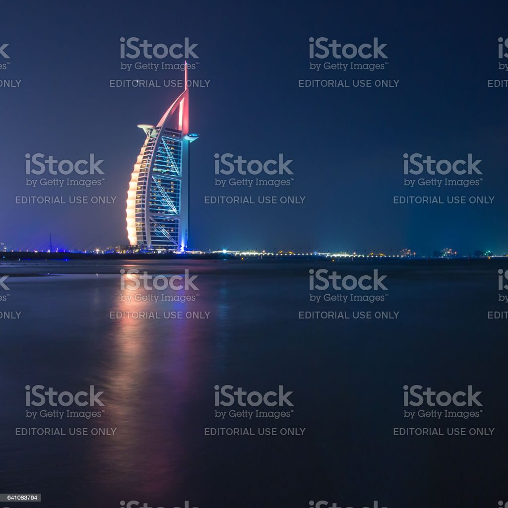 Dubai, UAE - Nov 15, 2016: Dubai seaside at sunset. stock photo